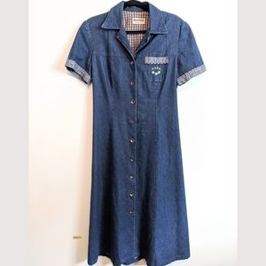 Vintage denim button up dress